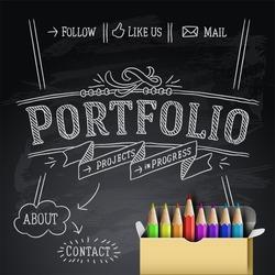 Web design portfolio template, vector illustration.