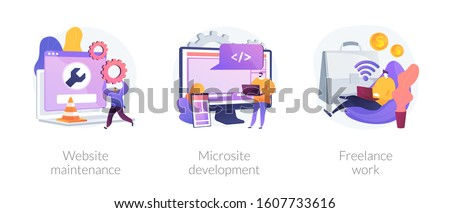 Web design, programming and coding idea. Remote job, freelancer cartoon character. Website maintenance, microsite development, freelance-work metaphors. Vector isolated concept metaphor illustrations