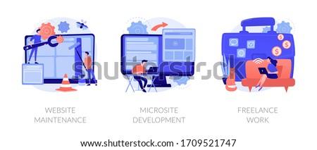Web design, programming and coding idea. Remote job, freelancer cartoon character. Website maintenance, microsite development, freelance-work metaphors. Vector isolated concept metaphor illustrations