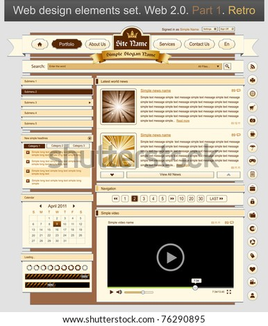 Web design set retro 1. Vector illustration