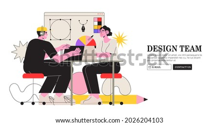 Web design studio or team working on laptops and discuss new project visualization. Creative or educational process banner, ad, landing page or poster for web design studio job or career and courses.