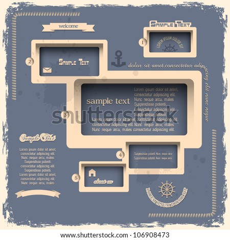 Web design template in Retro style. Vector eps10 - stock vector