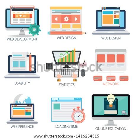 web design template, programming languages, web programming, web network, Online Education Icons, web development & Graphic Design
