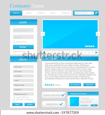 web design template ui elements blue grey and white register and login form menu download. Black Bedroom Furniture Sets. Home Design Ideas