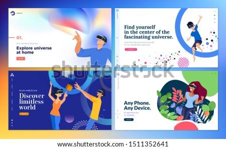 Web design templates of virtual reality. Vector illustration concept for web design and development, app development, VR technology, entertainment, games, business presentation, marketing, education.