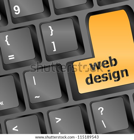 Web design text on a button keyboard