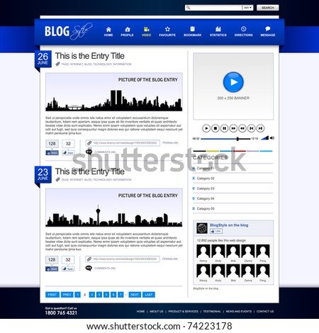 Web Design Website Element Blue Template - stock vector