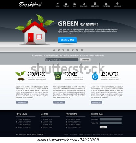 Web Design Website Elements Dark Blue Template