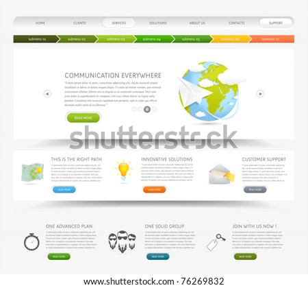 Web design website template with colorful icons