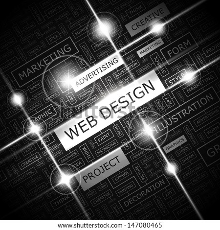 WEB DESIGN. Word cloud concept illustration. Graphic tag collection. Wordcloud collage with related tags and terms.