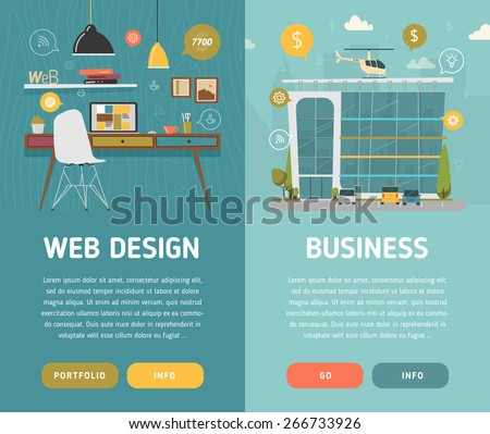 Web design workplace and business center vector illustration