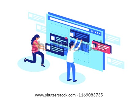 Web designers team create website page design