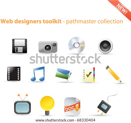 Web designers toolkit - pathmaster icon series - stock vector