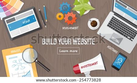 web developer desk with