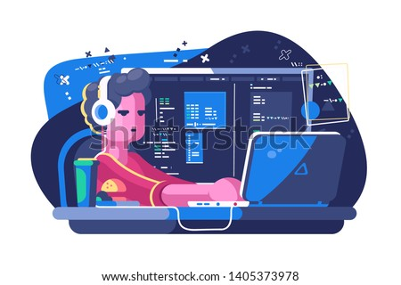 Web developer working on laptop vector illustration. Designer developing design and programming of program or application flat style concept. Website creative project