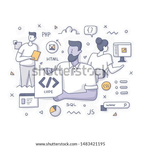 Web developers team concept. Programming, applications developing and coding technologies. IT business startup. Doodle vector illustration