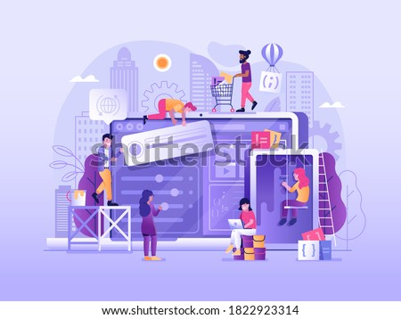 Web developing process. Website under construction in flat design. Maintenance page or 404 error illustration with developers team building or upgrading site, implementing services and new features. Foto stock ©