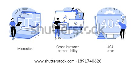 Web development abstract concept vector illustration set. Microsite interface, cross-browser compatibility, 404 error, programming, company page, page not found, website user abstract metaphor. Сток-фото ©