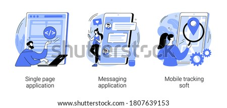 Web development abstract concept vector illustration set. Single page application, messaging application, mobile tracking soft, web page, responsive website, chat app, gps tracking abstract metaphor.