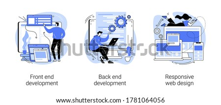 Web development agency abstract concept vector illustration set. Front and back end development, responsive web design, website interface, coding and programming, user experience abstract metaphor.