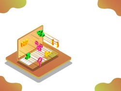 Web development concept based isometric design with illustration of laptop and multiple coding sign on abstract white background.