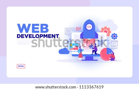 Web Development concept for web page, banner, presentation