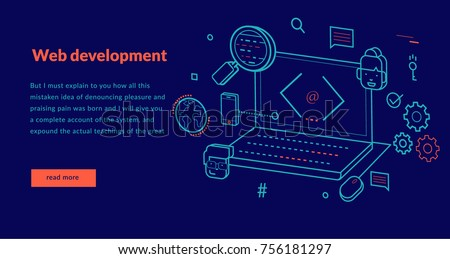 Web Development Concept for web page, banner, presentation. Vector illustration