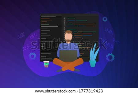 Web Development concept illustration. Software coding and programming web data processing and development. Man works behind the laptop, software code is displayed on the screen. Sql, xml, css, java Zdjęcia stock ©