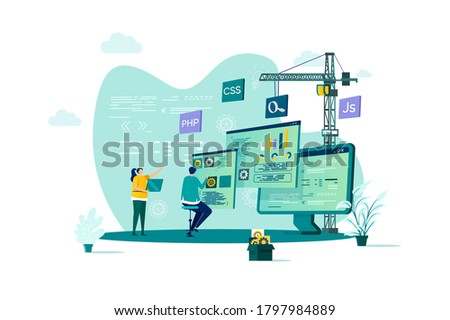 Web development concept in flat style. Developers team construct web application scene. Full stack development, software engineering, design and programming. Vector illustration with people characters