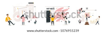 Web development concept set with people building website, painting and filling it with content, making necessary settings for web page interface isolated on white background. Vector illustration.