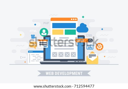 Web development. Flat design modern vector illustration concept.