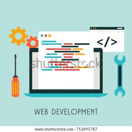 Web Development Flat Design. Vector Illustration.