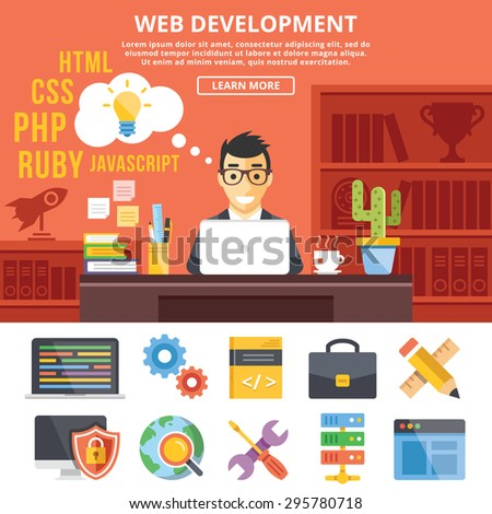 Web development flat illustration concepts and flat icons set. Programmer at work. Flat design graphic concepts for web banners, web sites, printed materials,infographics. Creative vector illustration