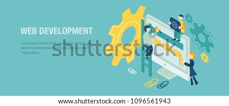 Web development flat isometric vector concept. illustration with little people. developers do their work. Technology background illustration. Isometric monitor, clip, staircase and people.