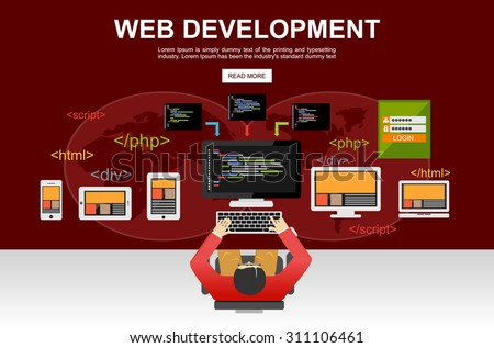Web development illustration. Flat design. Banner illustration of web development concept. Flat design illustration concepts for analysis, brainstorming, coding, programming, programmer,and developer
