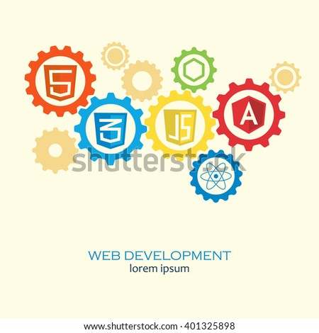 Web development in gears concept. Computer framework vector concept on web development and software for site building and design