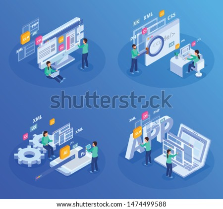 Web development isometric colored concept developers at the workplace in abstract situation vector illustration