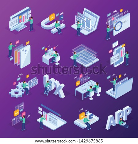 Web development isometric concept icon set with ui ux css xml php elements and developers vector illustration