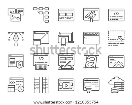 Web development line icon set. Included icons as design, developer, coding, content and more.