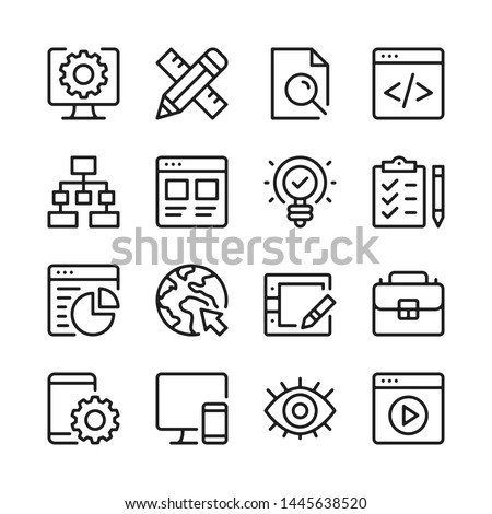 Web development line icons set. Modern linear graphic design concepts, simple outline elements collection. Vector line icons Stock photo ©