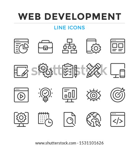 Web development line icons set. Modern outline elements, graphic design concepts, simple symbols collection. Vector line icons Stock photo ©