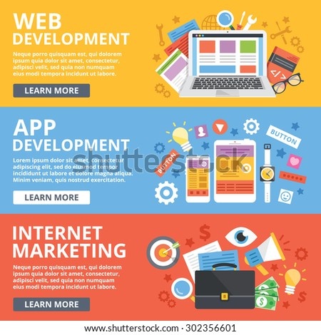 Web development, mobile apps development, internet marketing flat illustration concepts set. Modern flat design concepts for web banners, web sites, printed materials, infographics.Vector illustration
