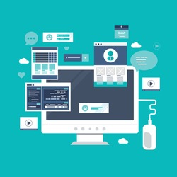 Web development, optimization, user experience, user interface in e-commerce. Website layout elements, photo, video, program code, search bar, site wireframe. Flat vector illustration