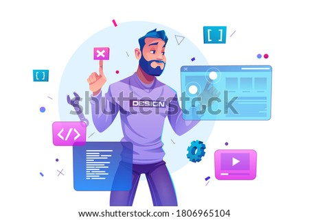 Web development, programmer engineering and coding website on augmented reality interface screens. developer project engineer programming software or application design, Cartoon vector illustration