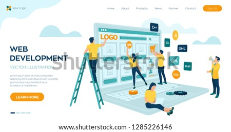 Web development. Project team of engineers for website create. Webpage building. UI UX design. Characters on a concept. Web agency. Template for programmer or designer. Vector illustration. #1285226146