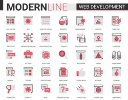 Web development red black flat line icon vector illustration set. Outline website mobile app developing symbols collection of optimization for webpage content, user interface design application