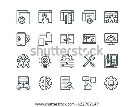 Web Development. Set of outline vector icons. Includes such as UX, Coding, Interface and other. Editable Stroke. 48x48 Pixel Perfect.