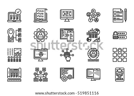Web Development Thin Line Related Icons Set of Web Design and Website Customization on White Background. Simple Mono Linear Pictogram Stroke Vector Logo Concept. Editable Stroke. 48x48 Pixel Perfect.