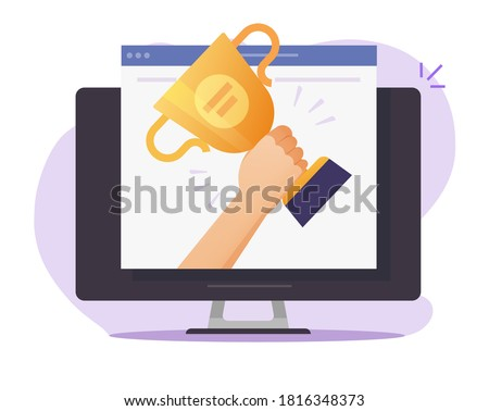 Web digital award online on internet vector, electronic website winner prize achievement, victory golden cup trophy flat cartoon, concept of championship competition gift, contest challenge win