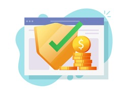 Web digital money insurance financial protection online guarantees, internet cash secure investment safety check vector flat illustration, electronic currency wealth shield icon modern